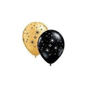 Sparkle And Swirl Black And Gold Mylar Balloons 11""