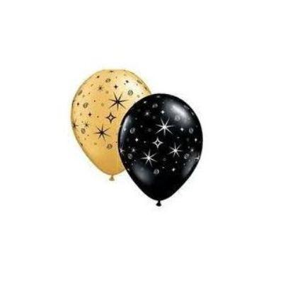 Sparkle And Swirl Black And Gold Mylar Balloons 11
