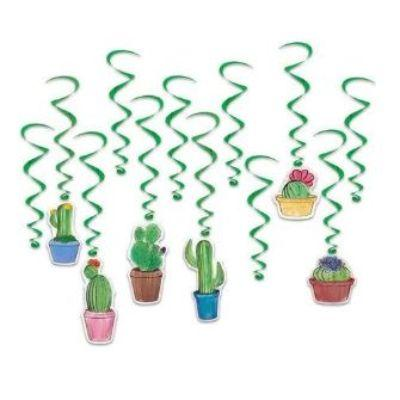 Cactus Hanging Whirl Decoration - 12 Pack