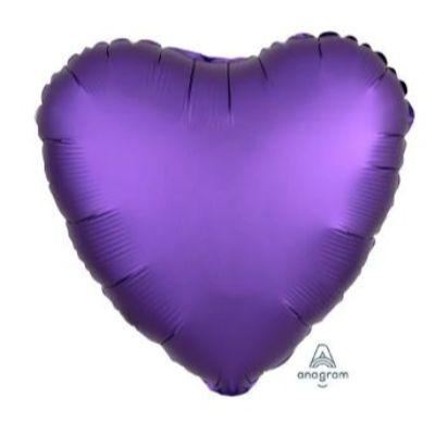 Satin Royal Purple Heart Mylar Balloon 17