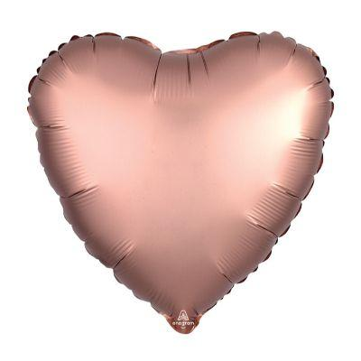 Satin Rose Copper Heart Mylar Balloon 17