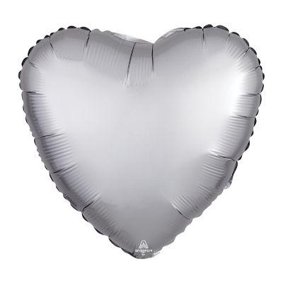 Satin Silver Heart Mylar Balloon 17