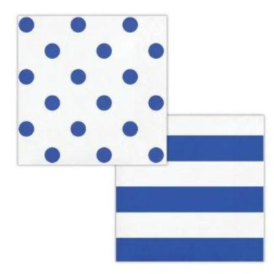 Blue Dots & Stripes Beverage Napkin - 16 Pack