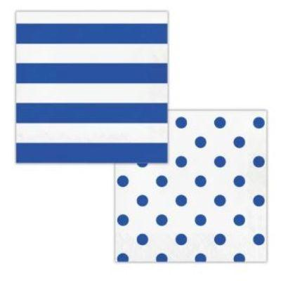 Blue Dots & Stripes Luncheon Napkin - 16 Pack
