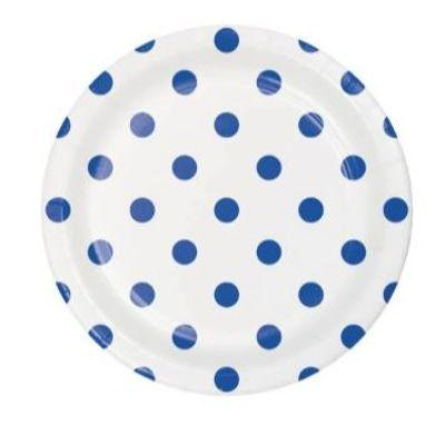 Blue Dot & Stripes Dessert Plate - 8 Pack