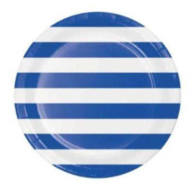 Blue Dots & Stripes Dinner Plates - 8 Pack
