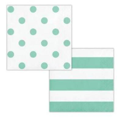 Mint Dots & Stripes Beverage Napkin - 16 Pack