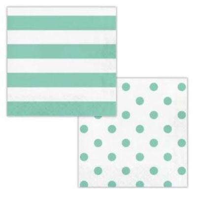 Mint Dots & Stripes Luncheon Napkin - 16 Pack