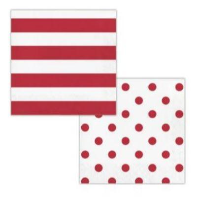 Red Dots & Stripes Luncheon Napkin - 16 Pack