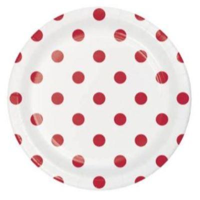 Red Dots & Stripes Dessert Plates - 8 Pack