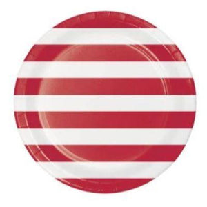 Red Dots & Stripes Dinner Plate - 8 Pack