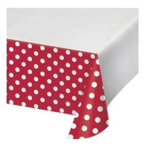 "Red Dots & Stripes Tablecover 48"" x 88"""