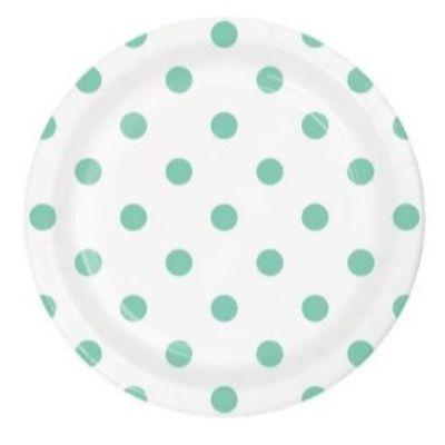 Mint Dots & Stripes Dessert Plates - 8 Pack