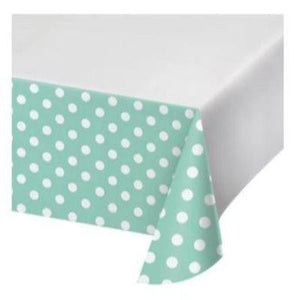 "Mint Dots & Stripes Tablecover 48"" x 88"""