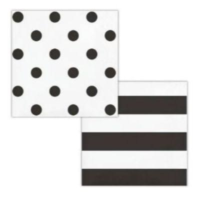 Black Dots & Stripes Beverage Napkin - 16 Pack