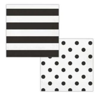 Black Dots & Stripes Luncheon Napkin - 16 Pack
