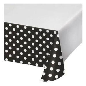 "Black Dots & Stripes Tablecover 48"" x 88"""