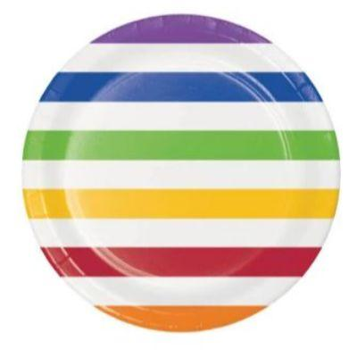 Multicolor Dots & Stripes Dinner Plates - 8 Pack