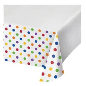 "Multicolor Dots & Stripes Tablecover 48"" x 88"""