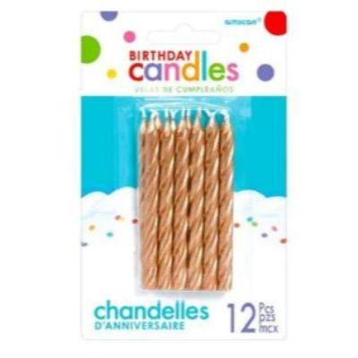 Rose Gold Spiral Birthday Candles - 12 Pack