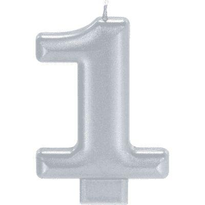 Number 1 Silver Candle