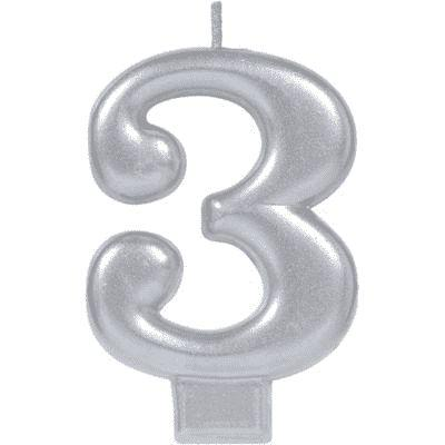 Number 3 Silver Candle