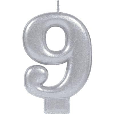 Number 9 Silver Candle