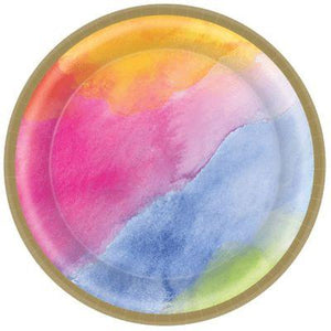 Rainbow Watercolor Dinner Plates - 16 Pack