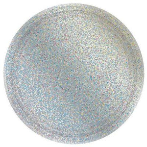"Prismatic Silver Dessert Plates 7"" - 8 Pack"