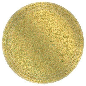 "Prismatic Gold Paper Dinner Plates 9"" - 8 Pack"