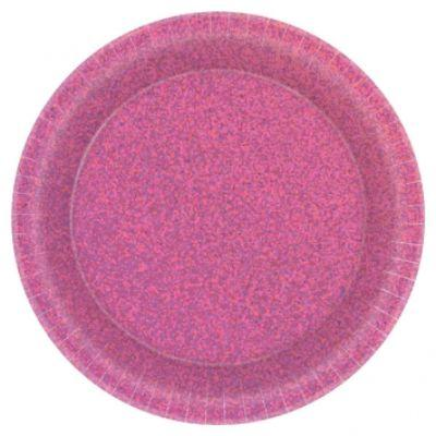 Prismatic Hot Pink Dinner Plates 9
