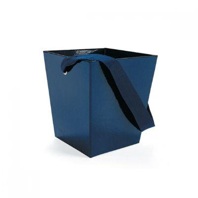 Blue Treat Container With Ribbon Handle