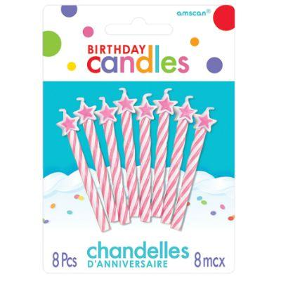 Pink Star Birthday Candles - 8 Pack