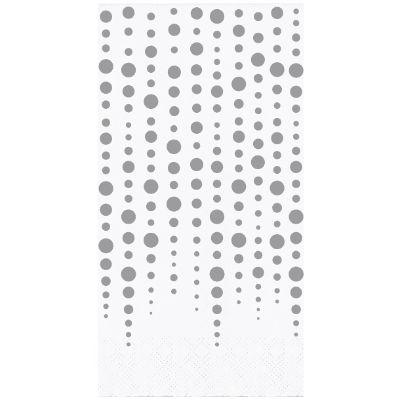 Silver Sparkle 25th Anniversary Guest Towel Napkins - 16 Pack