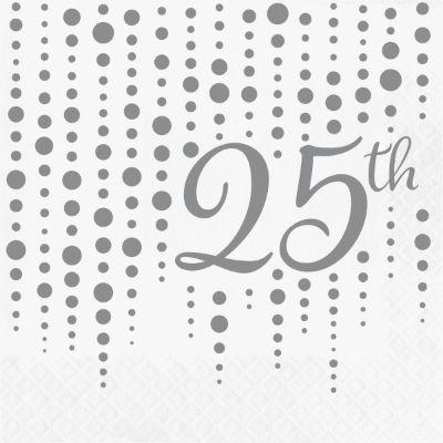 Silver Sparkle 25th Anniversary Lunch Napkins - 16 Pack