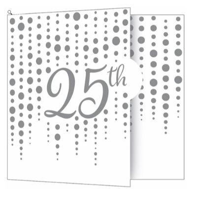 Silver Sparkle 25th Anniversary Invitations - 8 Pack