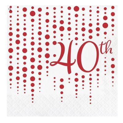 Ruby Sparkle 40th Anniversary Lunch Napkins - 16 Pack
