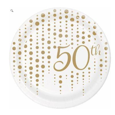 Gold Sparkle 50th Anniversary Dessert Plates - 8 Pack