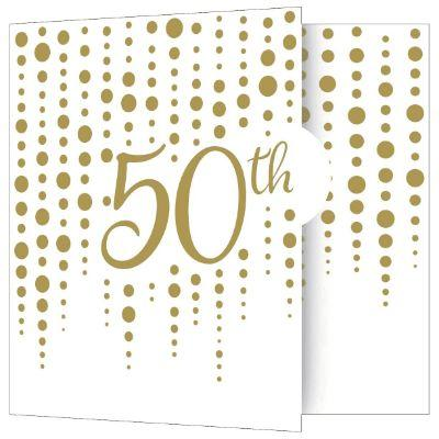 Gold Sparkle 50th Anniversary Invitations - 8 Pack