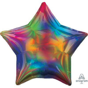 "Mylar 19"" Iridescent Rainbow Star"