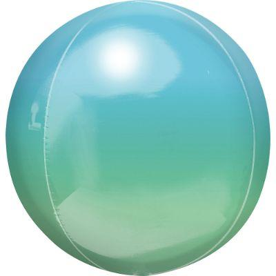 Ombre Blue & Green Orbz Mylar Balloon 16