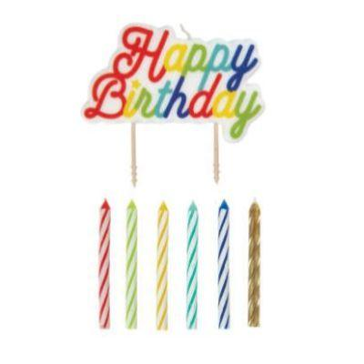 Happy Birthday Pick & Candles - 12 Pack
