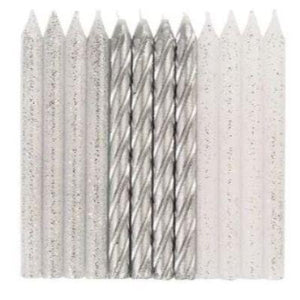 Silver & Glitter Spiral Candles - 24 Pack