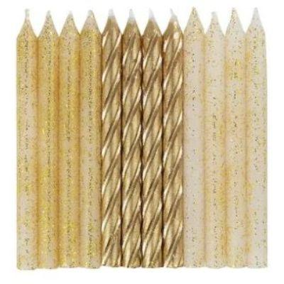 Gold & Glitter Spiral Birthday Candle - 24 Pack