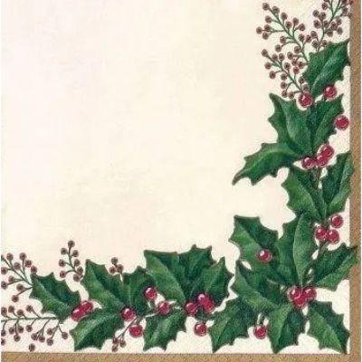 Winter Holly Beverage Napkin - 36 Pack
