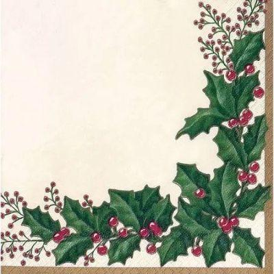 Winter Holly Luncheon Napkin - 36 Pack