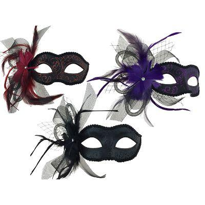 Feathered Eye Mask With Veil - Assorted