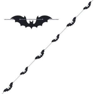 Black Bats Garland Decoration 6'