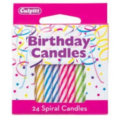 Neon Spiral Birthday Candles - 12 Pack