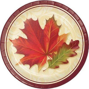 "Fall Leaves Paper Dinner Plate 9"" - 8 Pack"